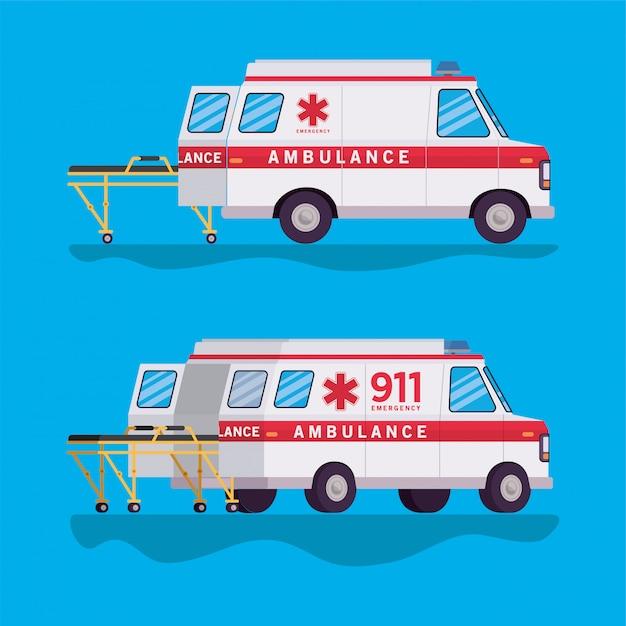 救急車と担架の設計 Premiumベクター