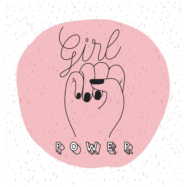 女の子のパワーエンブレム Premiumベクター
