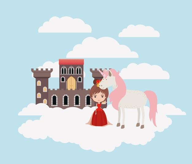 雲と城のユニコーンの王女 Premiumベクター