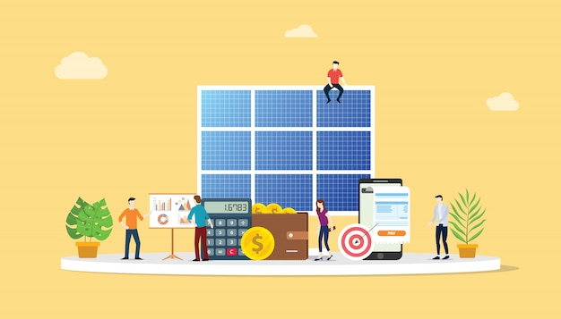 ソーラーパネルエネルギー事業 Premiumベクター