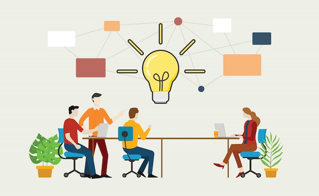 テーブルの上のチームとの効果的なブレーンストーミングの概念 Premiumベクター