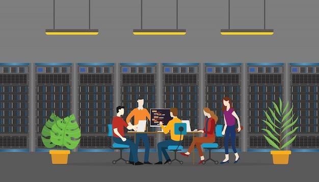 チームデータベースサーバーの人々の監視とメンテナンス Premiumベクター