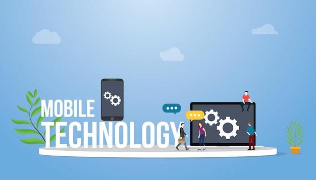 スマートフォンとラップトップのモバイル技術の概念 Premiumベクター