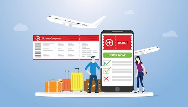 Онлайн бронирование или бронирование билетов для концепции полета с приложением для смартфона, люди заказывают онлайн билет Premium векторы