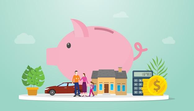 План управления финансовыми сбережениями семьи с копилку и маленьких семейных родителей с современным плоским стилем - вектор Premium векторы