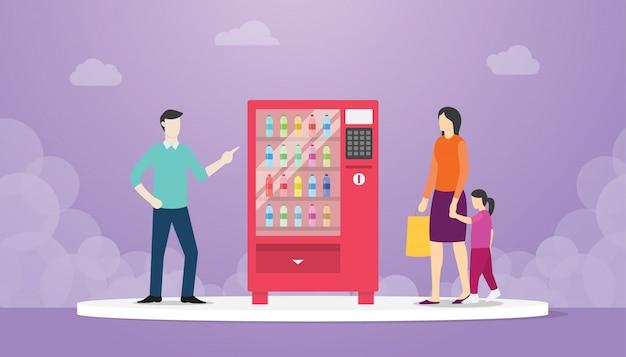 Торговый автомат с бутылкой еды питья с концепцией людей мужчины и женщины Premium векторы