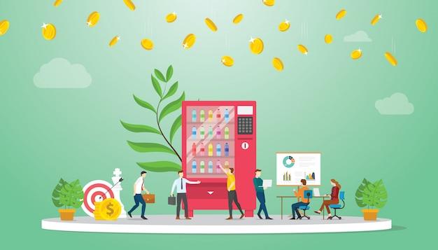 Концепция финансирования роста бизнеса торговых автоматов Premium векторы