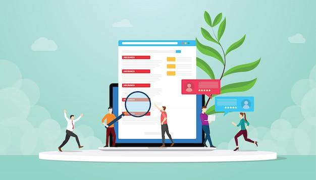 就職活動や人々とハンターモダンなフラットスタイルでオンライン経由でインターネットラップトップ上のジョブリストを検索-ベクトル Premiumベクター