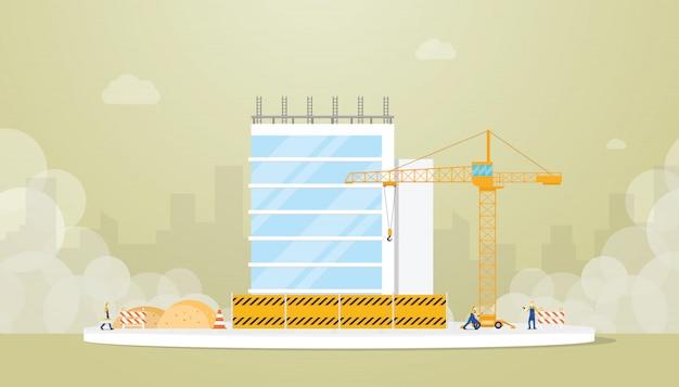 チームワーカーのエンジニアとモダンなフラットスタイルのクレーンで建物の建設開発 Premiumベクター