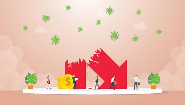 シンボルの経済成長がビジネスマンの近くで崩壊したコロナウイルスモダンなフラット漫画のスタイルに影響を与えます。 Premiumベクター