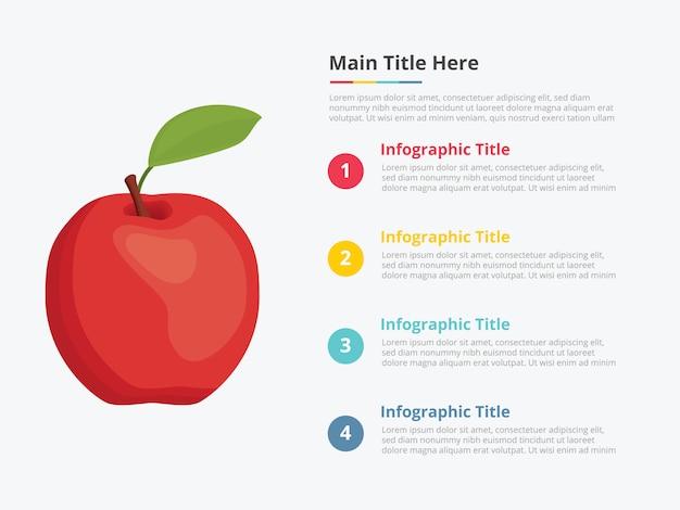 いくつかのポイントタイトルの説明とリンゴ果実のインフォグラフィック Premiumベクター