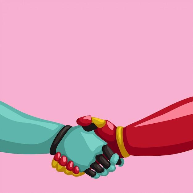 Киборги рукопожатие на розовом фоне | Премиум векторы