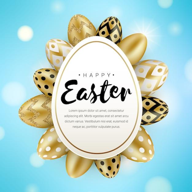 Счастливой пасхи приветствие баннер концепции с реалистичным блеском золотые яйца, изолированные на синем фоне боке. иллюстрация для поздравительной открытки, объявления, продвижение по службе, плакат, флаер, веб-баннер, печать Premium векторы
