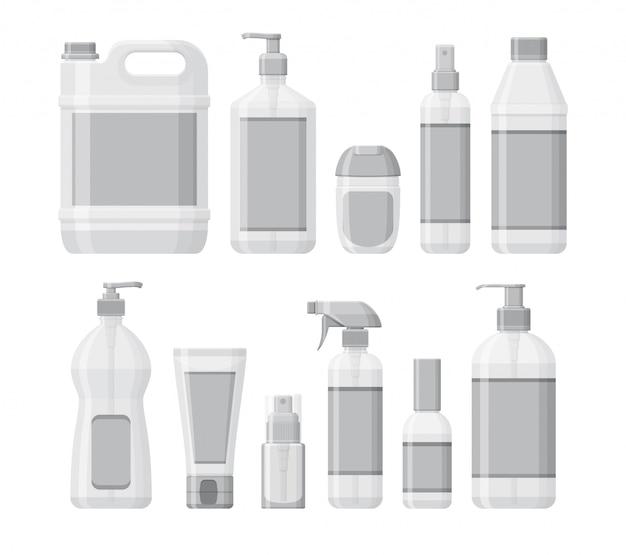 防腐剤と手の消毒剤のボトルのセット。洗浄ジェルとスプレー。流行時の個人用保護具。液体用の容器。図 Premiumベクター