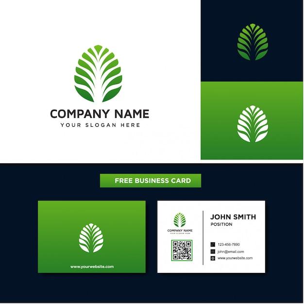 抽象的な葉のロゴのテンプレート Premiumベクター