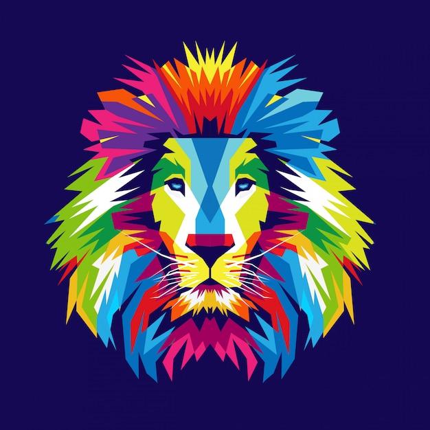 カラフルなライオンヘッドの図 Premiumベクター