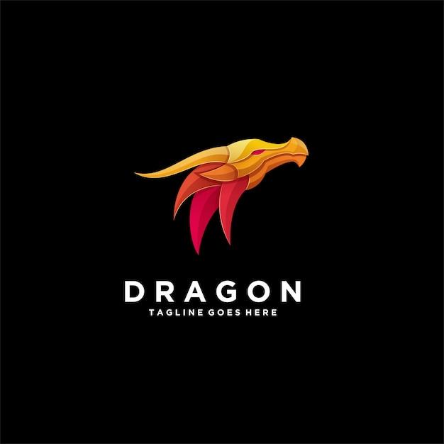 Иллюстрация абстрактный голова золотой дракон Premium векторы