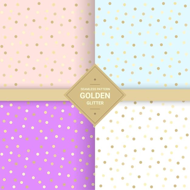 パステルの背景に黄金の光るシームレスなパターン Premiumベクター