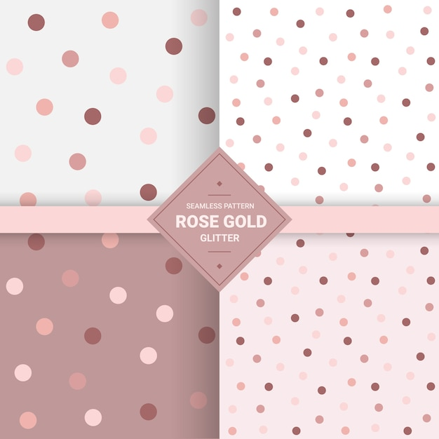 バラのゴールドカラーの水玉模様のシームレスなパターン。 Premiumベクター