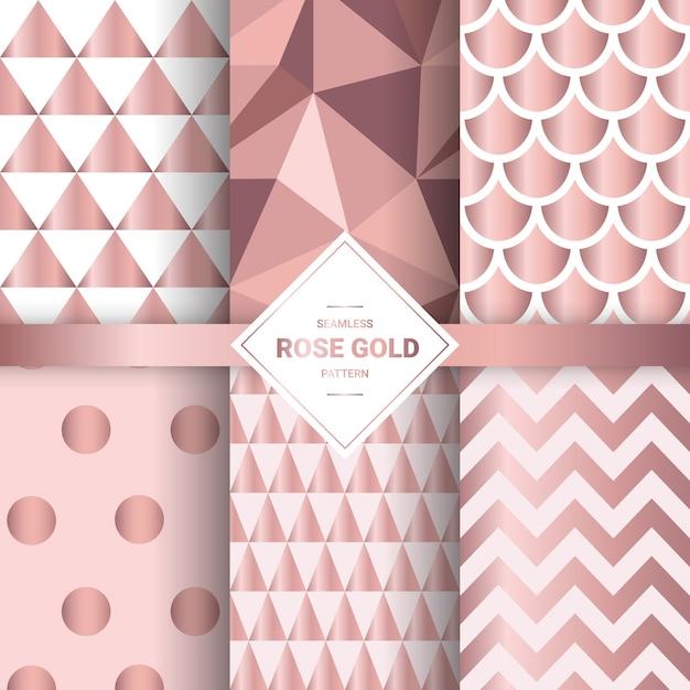 Металлические бесшовные узоры из розового золота. Premium векторы