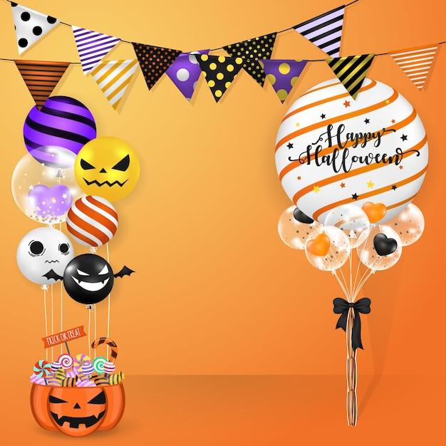 ハロウィンの風船とパーティーの旗の装飾 Premiumベクター