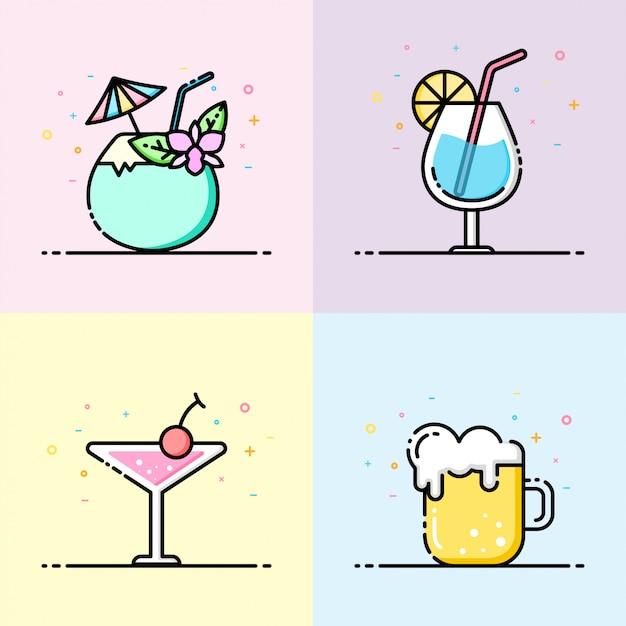 Коллекция иконок напитков в пастельных тонах Premium векторы