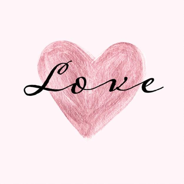 ローズゴールドの手描きの心と愛のテキストと名刺テンプレート Premiumベクター