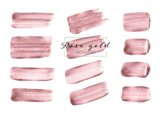 Набор кистей из розового золота на белом фоне Premium векторы