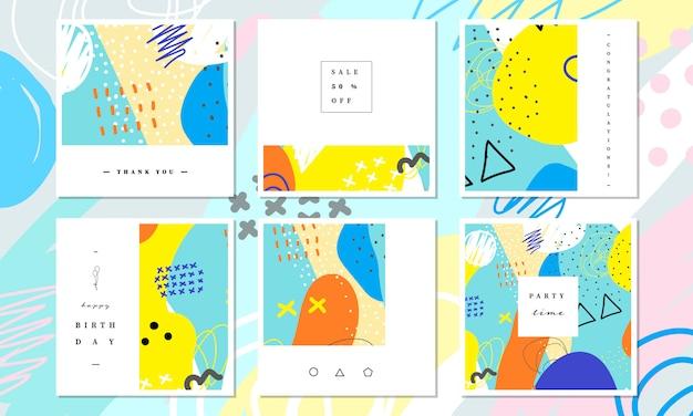 抽象的なカラフルな絵画デザインのソーシャルメディアバナーとカードテンプレートのコレクション。 Premiumベクター