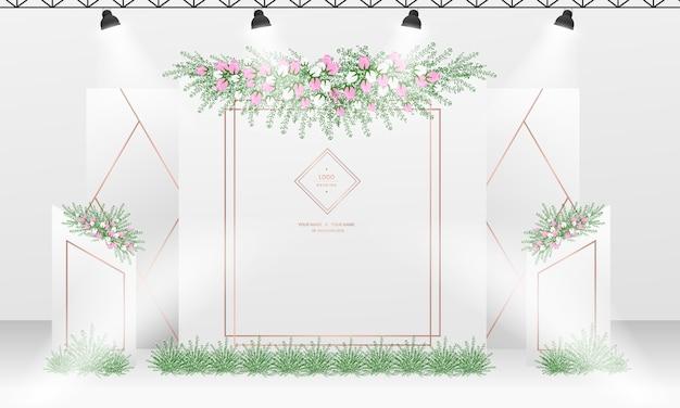 Свадебный дизайн фона фотоколла с темой белого и розового золота. Premium векторы