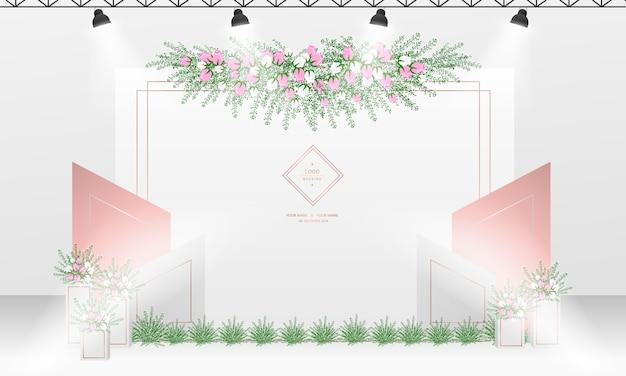 白とバラのゴールドカラーをテーマにした結婚式のフォトコール背景デザイン。 Premiumベクター