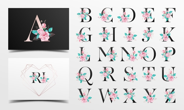 バラの水彩画の装飾と美しいアルファベットコレクション Premiumベクター