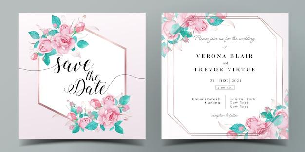 水彩風のバラで飾られたピンク色をテーマにした結婚式の招待カードテンプレート Premiumベクター