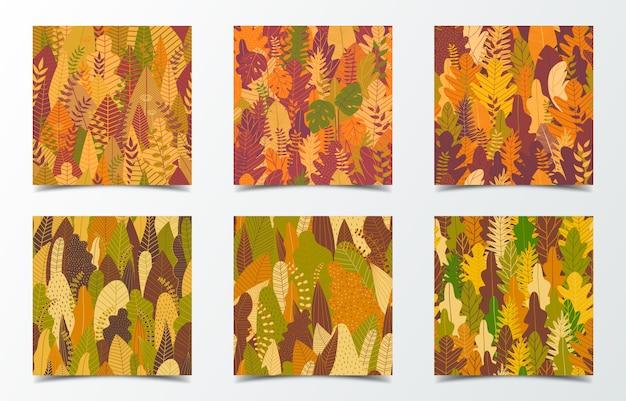 秋の森のカードのセット Premiumベクター