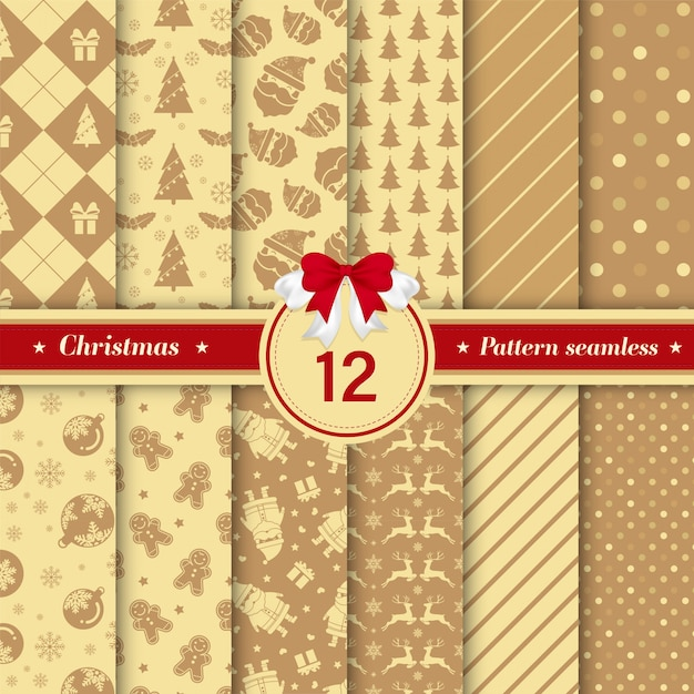 黄金色のメリークリスマスのシームレスパターンのセット Premiumベクター