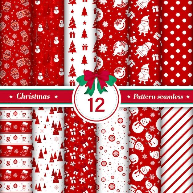 Счастливого рождества шаблон бесшовные коллекции в красном и белом цвете Бесплатные векторы