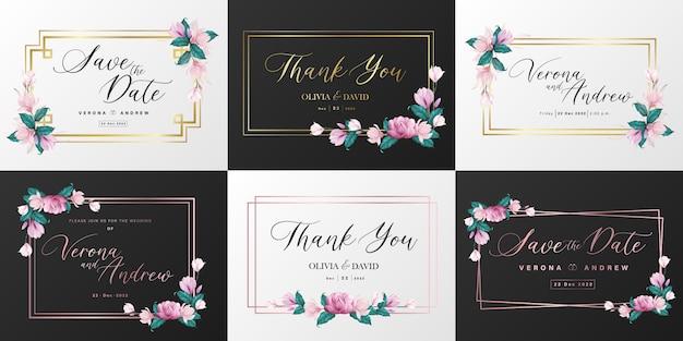 結婚式のモノグラムのロゴコレクション。招待カードデザインの水彩画の花のフレーム。 無料ベクター