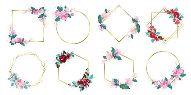 Набор акварельной цветочной рамки для свадебного вензеля с логотипом и брендинга логотипа Бесплатные векторы
