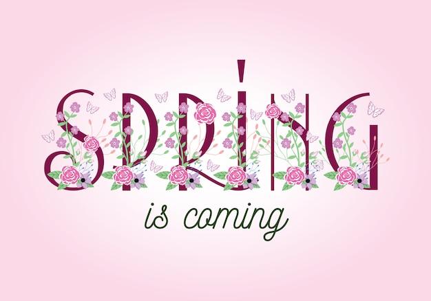 春が来ている - タイポグラフィの言葉遣いレタリング Premiumベクター
