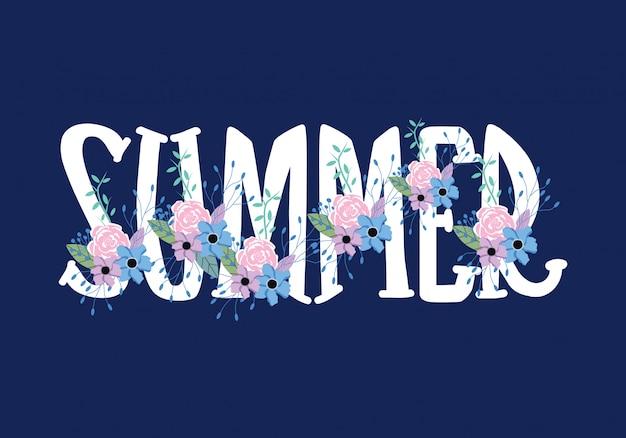 夏のタイポグラフィ言葉遣いレタリング Premiumベクター