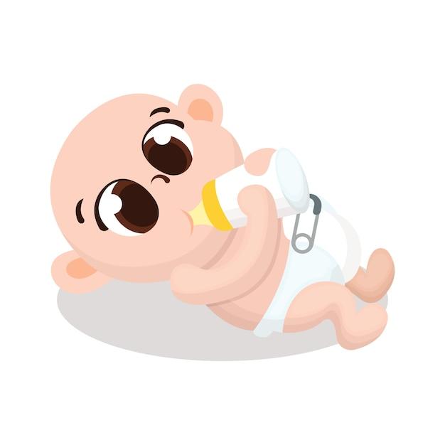 かわいい赤ちゃんのホールドミルクボトル漫画スタイルのイラスト Premiumベクター