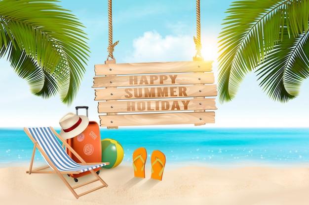 Летние каникулы концепции фон. туристические товары на пляже. , Premium векторы