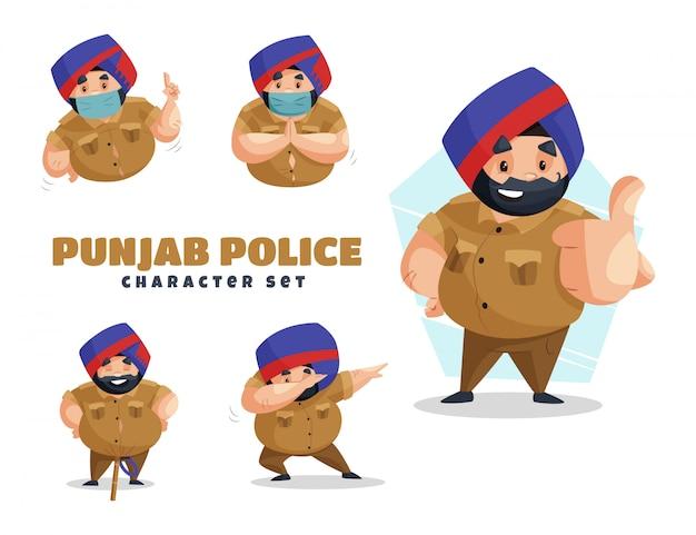 パンジャブ警察の文字セットの漫画イラスト Premiumベクター