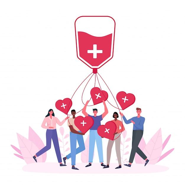 Добровольцы женщина и мужчина сдают кровь. благотворительность доноров крови. всемирный день донора крови, здравоохранение. люди держат сердца. Premium векторы