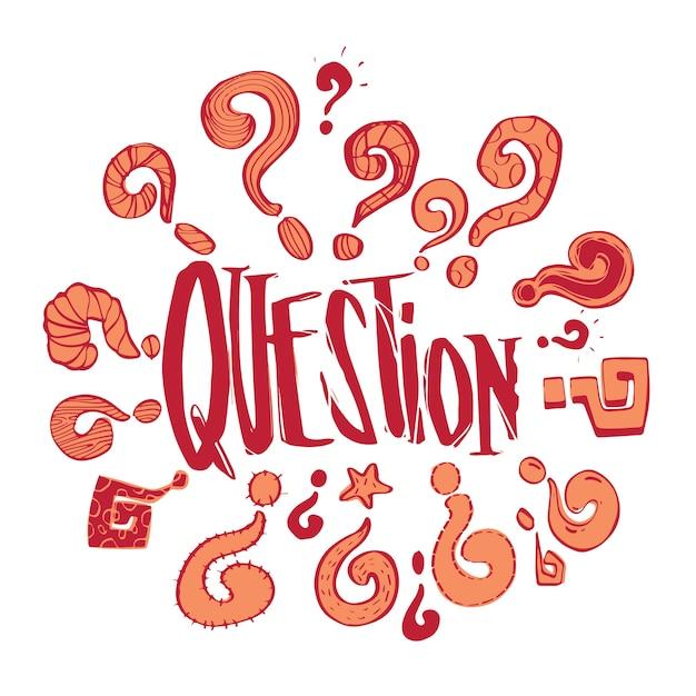 Рисованные вопросы фаз и набора вопросительных знаков, бизнес-задачи и концепция решения, векторный дизайн иллюстрации. Premium векторы