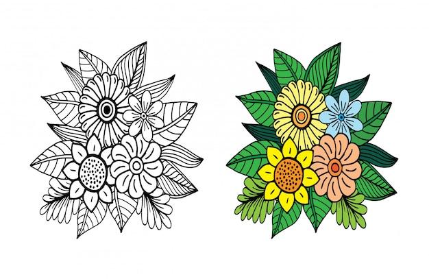 手描きの花の落書き Premiumベクター