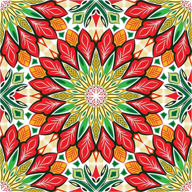 装飾的なマンダラデザインの抽象的な背景。花とのシームレスなパターン Premiumベクター