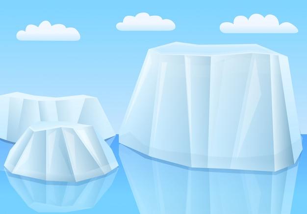 Мультяшный ледники в море, векторная иллюстрация Premium векторы