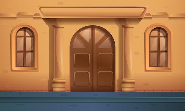 漫画の美しい古い家への入り口のある通り、ベクトルイラスト Premiumベクター