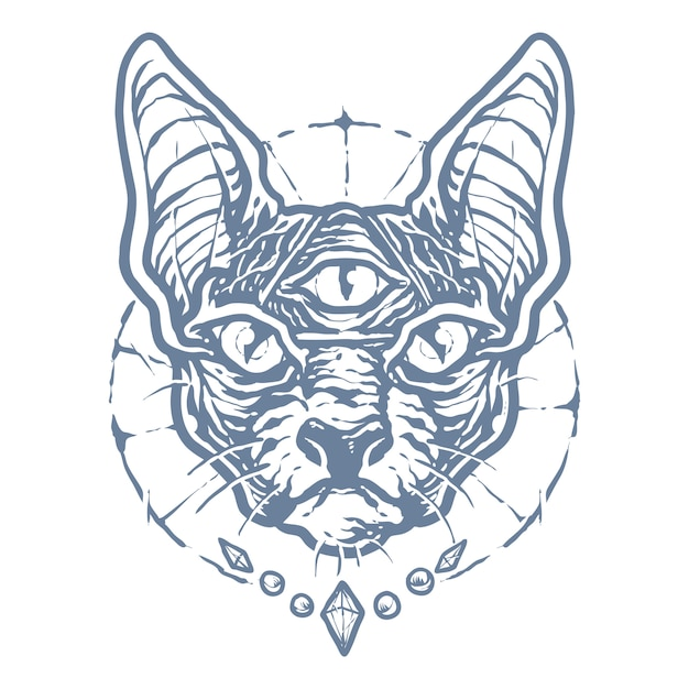 モノクロブラックマジックスフィンクス猫 Premiumベクター